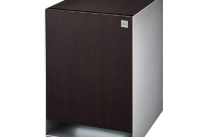 Side view of LG OBJET Refrigerator with LED lighting on taken from front-right at a 15-degree angle