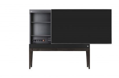 Front view of LG OBJET TV with display slid to the right to reveal input connections built into cabinet