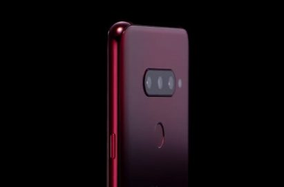 A backside view of LG V40 ThinQ's which emanates the minimalist design profile