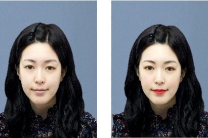 A before-and-after image with and without the virtual makeup effects of LG's Makeup Pro feature