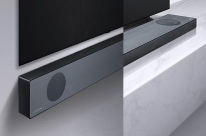 LG Soundbar model SL9YG fixed to a wall below an LG TV next to an image of it placed on a shelf