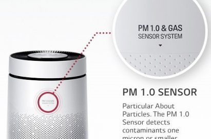 Front view of the LG PuriCare 360° air purifier that detects fine particles under 1 micrometer in diameter while also eliminating unpleasant smells