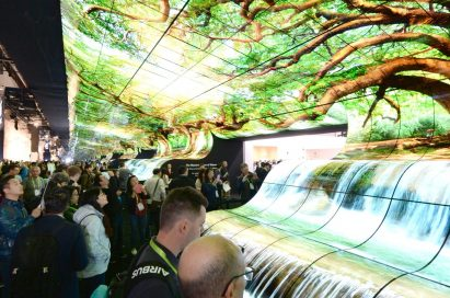 Another view of attendees admiring the LG OLED Falls at the LG Booth at CES 2019