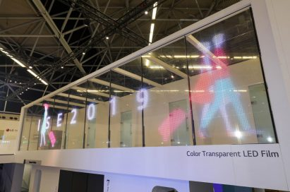 LG's color transparent LED film signage presented at ISE 2019.