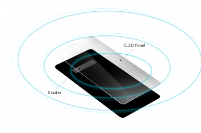 A graphic showing off the new Crystal Sound OLED, which will be included in the LG G8 ThinQ