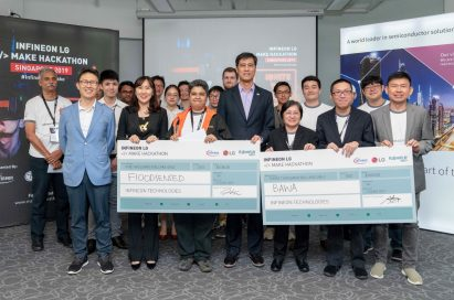 """Delegates from Infineon Technologies and LG Electronics at the inaugural event """"Infineon LG Make Hackathon"""" in Singapore."""