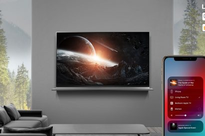 A view of an LG ThinQ AI TV streaming game content from an iPhone through AirPlay2 in the home