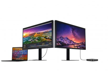 A right and left-side view of the LG UltraFine 5K, one connected to a laptop and the other connected to a device