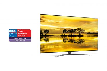 A left-side view of LG NanoCell TV model 65SM9000 with the EISA Award logo on the left