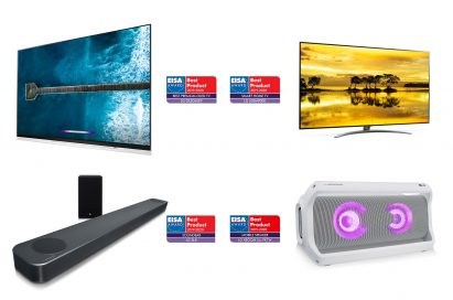LG's AI-enabled products including the LG OLED TV model OLED65E9 and LG NanoCell TV model 65SM9000 on top, and the LG Soundbar model SL8YG and LG XBOOM Go model PK7 at the bottom, with the corresponding EISA Award logo at each product's side