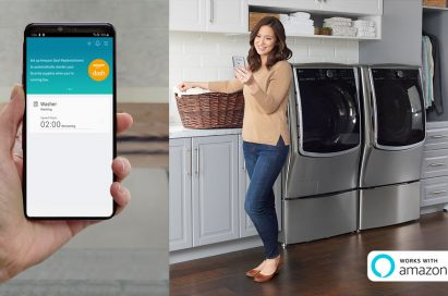 A woman holds a laundry basket while looking at her phone in front of LG laundry appliances, with a close-up of the smartphone displaying the remaining wash time and an option to set up Amazon Dash Replenishment.