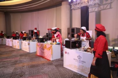 The participants cook their own Indian food by using LG's microwave ovens at the LG Mallika-E-Kitchen contest.