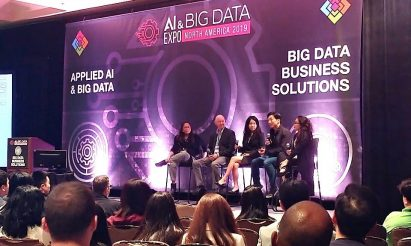 A panel discussion session with LG's Samuel Chang, industry growth consultant Frost Li, Hitachi's vice president of digital insights Mark Burnette, and CTO of IoT World Labs Roxy Stimpson, who are discussing the big data solutions for some of today's greatest challenges.