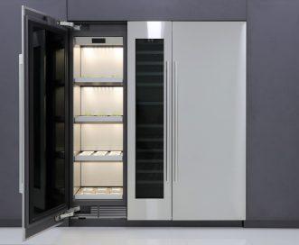The front view of LG's indoor gardening appliance with its left door open