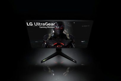 Front view of LG UltraGear monitor 27GN950 displaying a video game image in a dark setting
