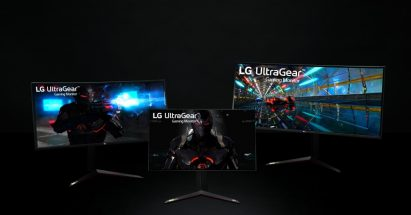 A promotional shot of three side-by-side LG UltraGear monitors displaying video game images in a dark setting
