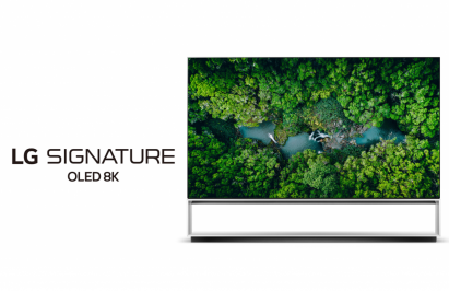 Front view of LG's 2020 Real 8K OLED TV with the LG SIGNATURE OLED 8K logo positioned on the left