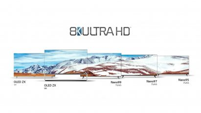 The LG 8K OLED TV and LG 8K NanoCell TV lineups displayed side-by-side with CTA's 8K Ultra HD logo positioned above