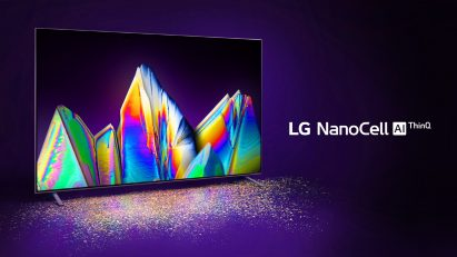 Front view of LG NanoCell TV model Nano99 displaying a wide range of vivid colors in the dark, with the LG NanoCell AI ThinQ logo on the right