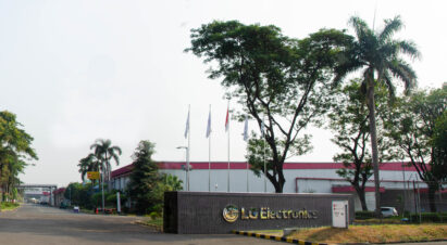 LG's facility in Indonesia with some laborers working in the assembly line