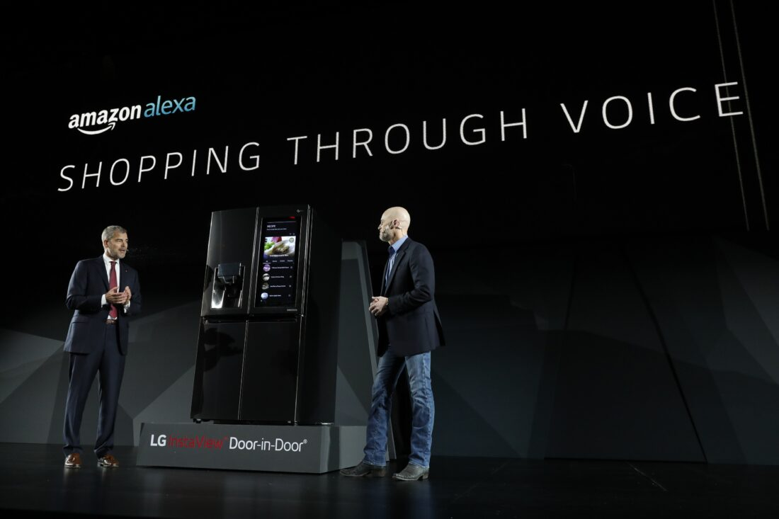 David VanderWaal, Senior Vice President, Marketing, LG Electronics discuss the AI connectivity of LG's home appliances with a delegate from Amazon Alexa at its CES 2017 Press Conference.