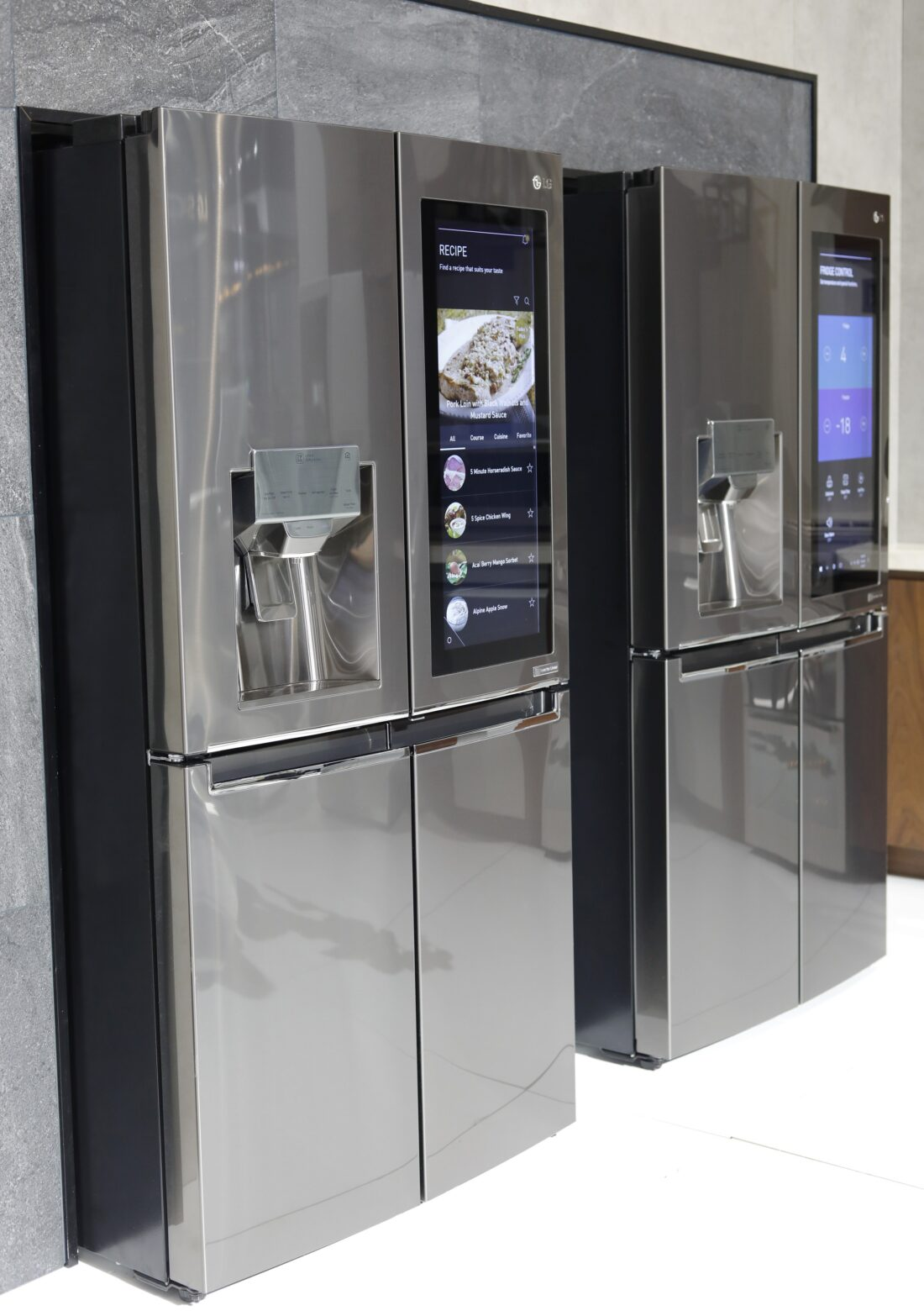 Two LG InstaView Door-in-Door refrigerators in the LG display zone at CES 2017