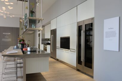 Side view of the LG Signature Kitchen Suite display zone designed in cooperation with Italian design company Arclinea