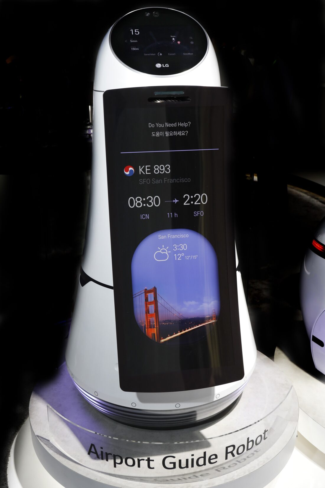 Close-up front view of LG's Airport Guide Robot on display at LG's CES 2017 booth