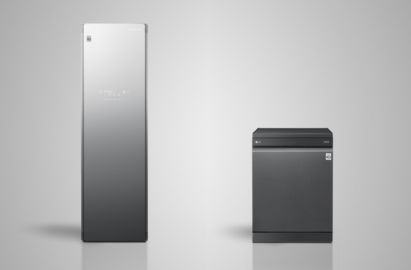 Front view of LG Styler standing next to an LG TrueSteam™ dishwasher