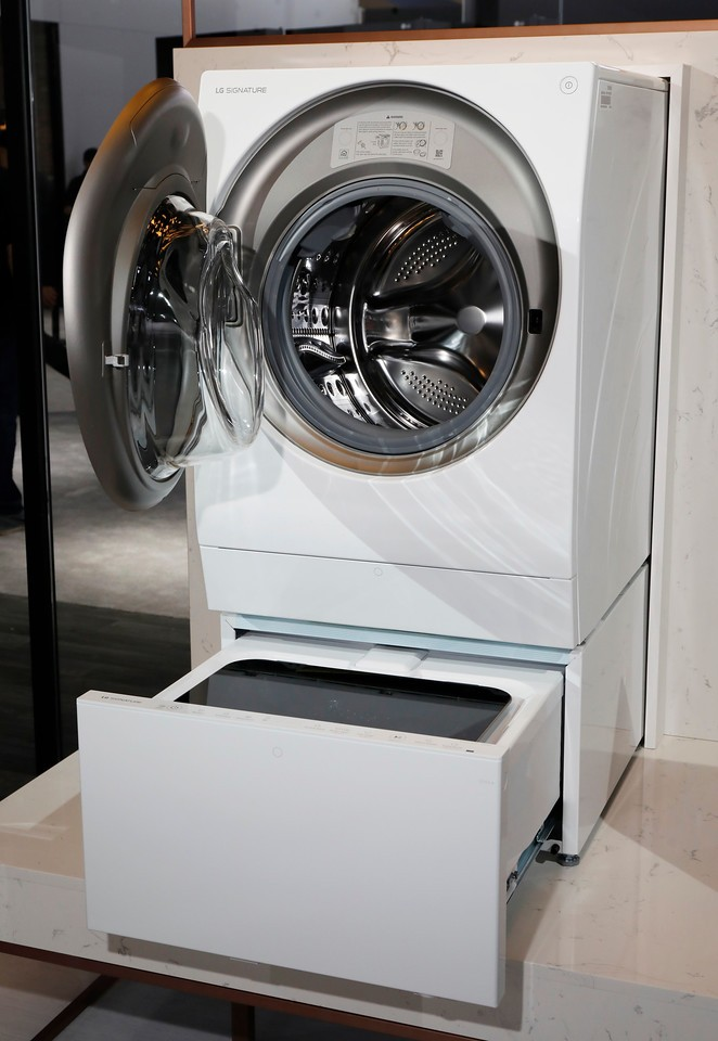 Close view of an LG SIGNATURE Washing Machine at LG's CES 2017 booth