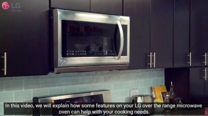 A screenshot of the walkthrough that shows off the LG microwave oven and its features that help with the cooking