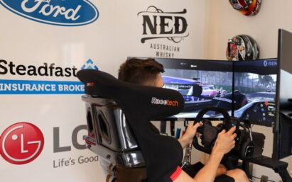 A man races online with the immersive virtual supercar simulator