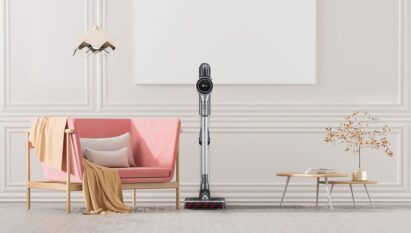 LG CordZeroThinQ A9 displayed in a beautiful, trendy living space