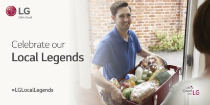 A man carries groceries into someone's house with the tagline,