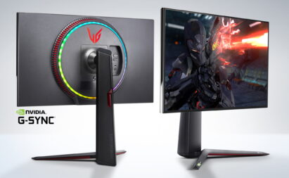 A front and rear view of LG's new UltraGear Monitor with the NVIDIA G-Sync logo in the bottom left
