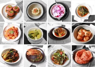A photo collage of all the different kinds of kimchi – a Korean traditional side dish made from salted, fermented vegetables
