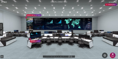 LG's Optimum Cable-less LED Signage and UltraWide Monitor shown within a control center setting during the Vertical Showroom Tour