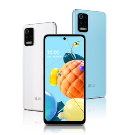 Front and rear view of LG K62 in White and Sky Blue