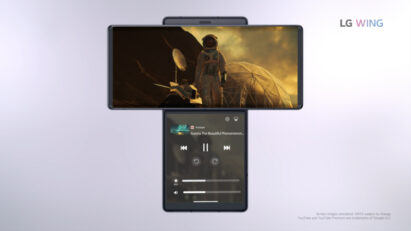 Screenshot of the LG WING product video, displaying LG WING in Swivel Mode with a YouTube video playing on the Main Screen and Media Controller on the Second Screen
