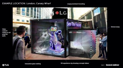 An example of an LG CineBeam booth experience advertisement in London's Canary Wharf, a campaign created by workshop participants