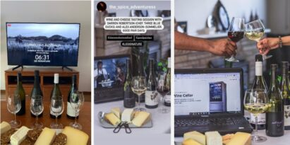 Images of guests setting up their Good Pair Days box of selected wines and artisan cheeses at home, as they watch the event through their TVs and laptops