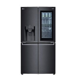 Front view of LG InstaView® Door-in-Door® refrigerator with the water dispenser