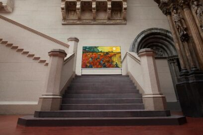 LG SIGNATURE OLED 8K TV stands on the stairway of the Pushkin State Museum of Fine Arts in Moscow, Russia, while displaying one of its famous paintings