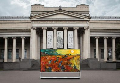 LG SIGNATURE OLED 8K TV displaying a painting in front of the majestic Pushkin Museum building