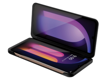 Image of a half-folded LG V60ThinQ 5G made possible by LG Dual Screen