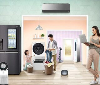 A family of three do the housework in a room filled with LG home appliances, including the LG AI DD Washing Machine