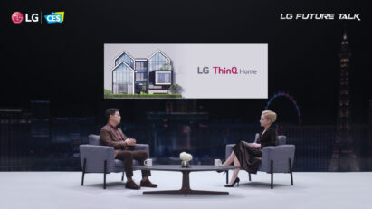 Dr. I.P. Park, president and CTO of LG Electronics, explaining the LG ThinQ brand's exciting plans such as the creation of an ecosystem connecting products and services across categories on stage during LG Future Talk.