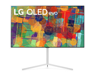 Front view of LG's 65-inch OLED evo G1 on its stand while displaying a colorful abstract artwork on its screen