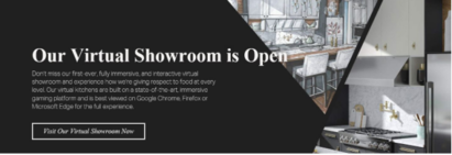 A screenshot of the online gateway to LG's virtual showroom with photos of kitchen displays featuring the LG appliances available during KBIS 2021.
