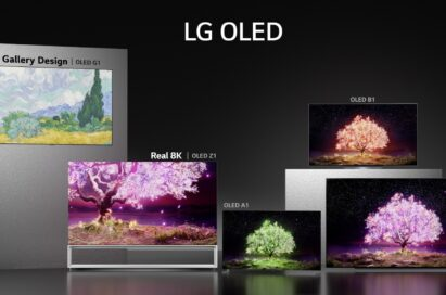 Five different OLED TV models from the LG 2021 TV lineup showcased in a dark room to really show off their sleek modern designs and self-lit panels that produce sharp and realistic pictures
